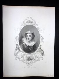 Barclay C1840's Antique Portrait Print. Mary Queen of Scots
